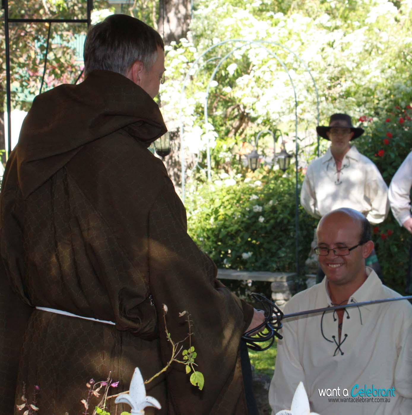knighting a groomsman